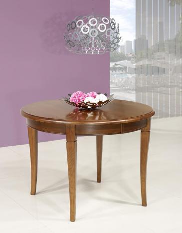 Table ronde 4 pieds -  en Chêne Massif de style Louis Philippe Diamètre 105 1 allonge portefeuille de 40 cm Finition Chêne Moyen SEULEMENT 1 DISPONIBLE