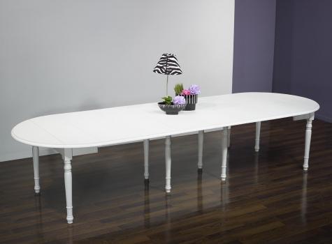 Table ronde à volets DIAMETRE 120  en merisier massif 6 allonges de 40 cm Finition Ivoire