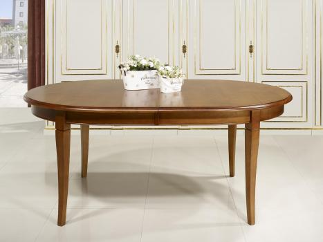 Table Ovale Julie 180x120  en Merisier Massif de style Louis Philippe 5 ALLONGES DE 40 CM