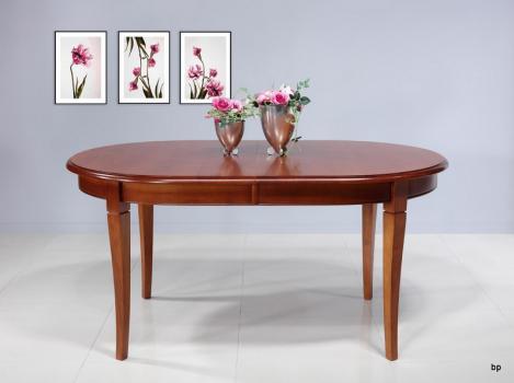 Table Ovale de salle à manger Estelle  en Merisier Massif de style Louis Philippe 160X100 avec 2 allonges