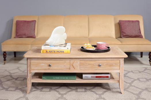 Table Basse Clément  en Chêne de style Louis Philippe PLATEAU MARQUETE Finition Brossé Blanchi