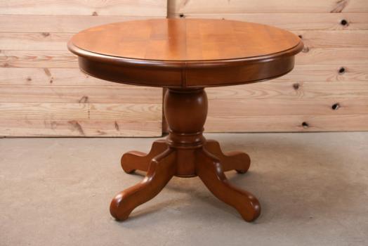 Table ronde Marie-Amélie,DIAMETRE 105, pieds central, de style Louis Philippe réalisée en Merisier Massif 2 allonges de 40 cm