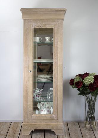 Argentier 1 porte 1 tiroir en Chêne Massif de style Louis Philippe Finition Chêne Brossé