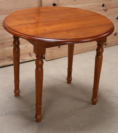 Table ronde à volets diamètre 90 en merisier massif de style Louis Philippe