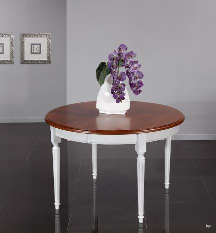 Table ronde 4 pieds diane, réalisée en merisier massif de style louis xvi diamètre 120 ceinture et pieds patiné ivoire