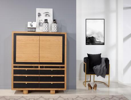 Bahut 4 portes 2 tiroirs  en Chêne Massif de style Contemporain Vintage
