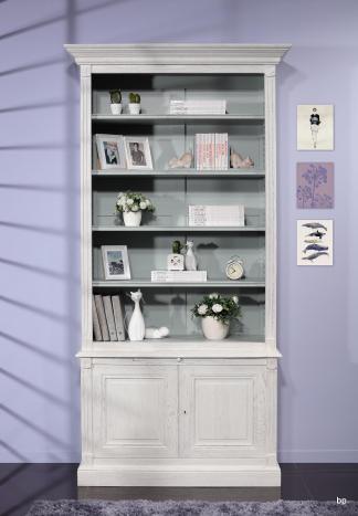 Bibliothèque 2 corps sylvain réalisée en chêne massif de style directoire finition ivoire et bleu gris