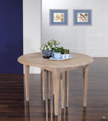 Table ronde à volets Michel Diamètre 110  en chêne massif de style Louis Philippe 7 allonges de 40 cm  Pieds Fuseaux