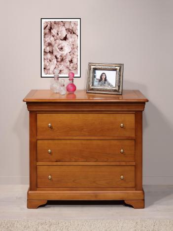 Commode 3 tiroirs Amélie réalisée en Merisier Massif de style Louis Philippe Largeur 105 cm SEULEMENT 1 DISPONIBLE dans une finition merisier teinté noyer clair