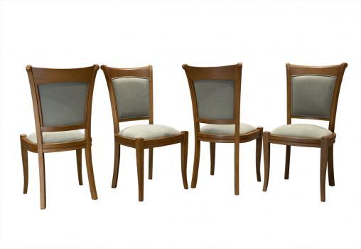 Lot de 5 Chaises Benjamin en chêne massif de style Louis Philippe Finition chêne moyen