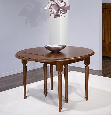 Table ronde à volets Vera  en Chêne Massif de style Louis XVI avec  3 allonges de 40 cm