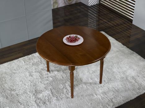 Table ronde à volets  en Merisier Massif de style Louis XVI avec  1 allonges de 40 cm