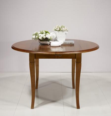 Table ronde à volets   en Merisier Massif de style Louis Philippe 2 allonges