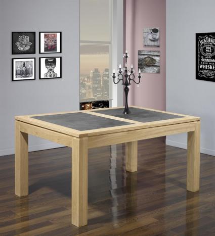 Table de repas rectangulaire 200X100 Mathéo réalisée en Chêne Ligne Contemporaine PLATEAU CERAMIQUE IRON GREY