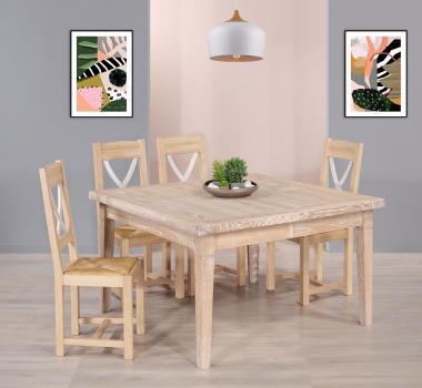 Table de Campagne 130x130  en Chêne Massif 2 allonges de 40 cm Finition Chêne brossé blanchi