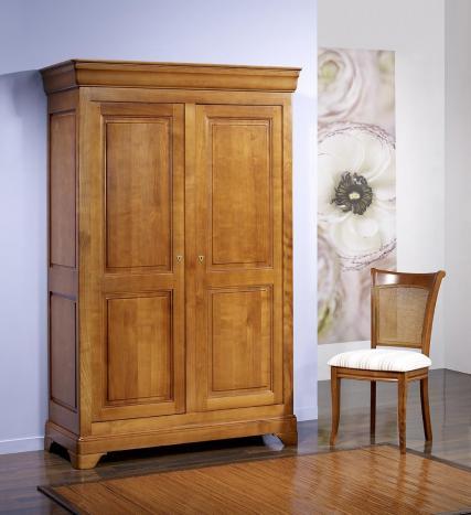 Armoire 2 portes Mélodie  en Merisier Massif de style Louis Philippe 104 cm de large