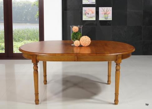 Table ovale 170x110  en Chêne massif de style Louis Philippe avec 3 allonges de 40 cm