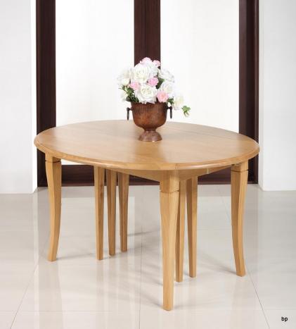 Table ovale à volets Jérome  en Chêne Massif  de style Louis Philippe 135x110 avec 7 allonges