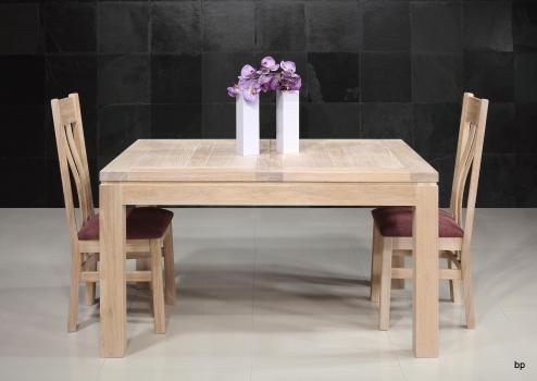 Table de repas rectangulaire 140x90  en Chêne Ligne Contemporaine 2 allonges à l'italienne