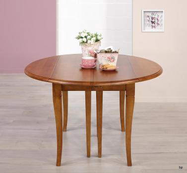Table ronde à volets DIAMETRE 120  en chêne massif de style Louis Philippe 5 allonges de 40 cm