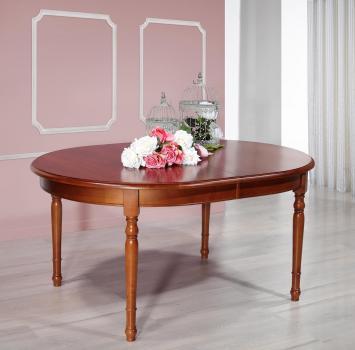 Table ovale Muriel 170*110  en Merisier Massif de style Louis Philippe 2 allonges incorporées de 40 cm