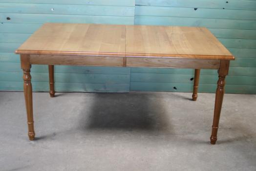 Table Rectangulaire 140x100 en Merisier massif de style Louis Philippe 2 allonges de 40 cm