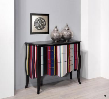 Commode 3 tiroirs Bérangère en Merisier de style Louis XV Laqué noir et rayures colorées