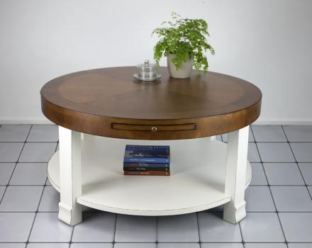 Table Basse Ronde Elsa  en Merisier de style Contemporain bi-color Plateau Blond Corps Ivoire légèrement patiné