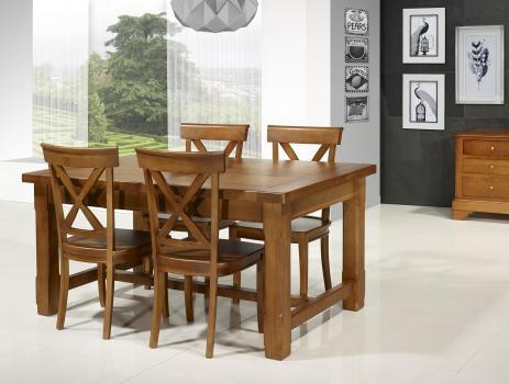 Table de ferme rectangulaire AXEL  en Chêne massif 160x100 + 2 allonges de 45 cm