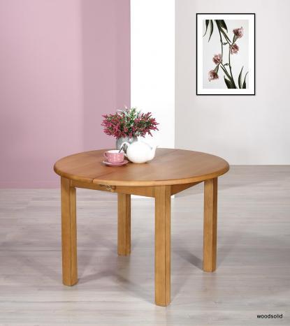 Table ronde  en FRENE Massif de style Campagne avec  2 allonges de 40 cm
