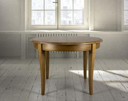 Table ronde 4 pieds -  en Chêne Massif de style Louis Philippe Diamètre 105  1 allonge portefeuille de 40 cm