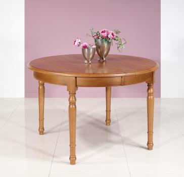 Table ronde  en Chêne Massif de style Louis Philippe DIAM.110 - 3 allonges de 40 cm