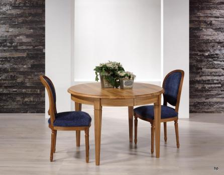Table ronde Fabrice réalisée en Chêne massif de style Louis Philippe DIAMETRE 110 avec 5 allonges de 40 cm Pieds Fuseaux ANTIK SEULEMENT 1 DISPONIBLE