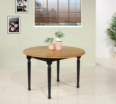 Table ronde à volets  en chêne massif de style Louis Philippe 5 allonges de 40 cm 8 pieds Tournés  Finition Bicolor SEULEMENT 1 DISPONIBLE