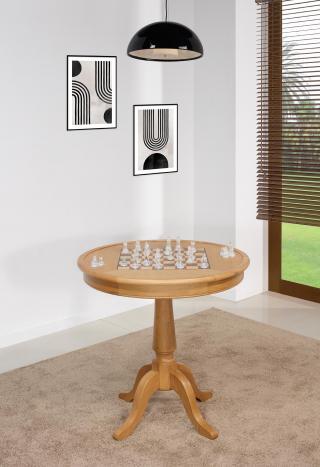 Table ronde à jeux en chêne de style Louis Philippe Diamètre 77 cm  SEULEMENT 1 DISPONIBLE