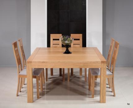 Table de salle à manger 140x140 CONTEMPORAINE avec 2 allonges portefeuilles réalisée en Chêne