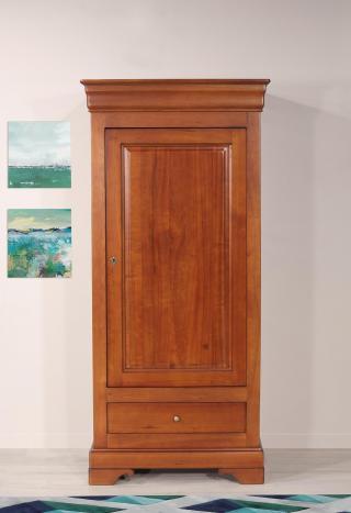 Bonnetière 1 porte 1 tiroir   en merisier massif de style Louis Philippe Finition Merisier Doré avec patine antiquaire (léger vieillissement du bois)