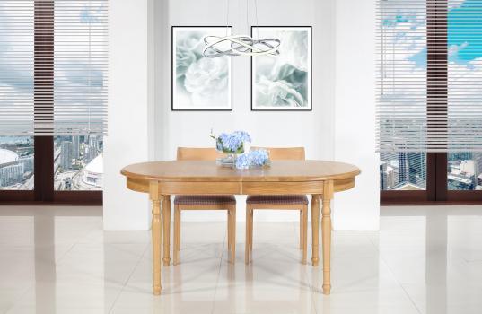 Table ovale 160*90  en chêne Massif de style Louis Philippe 2 allonges incorporées de 40 cm