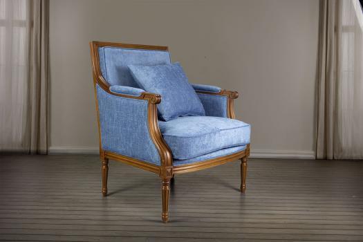 Fauteuil Laura de style Louis XVI réalisé en hêtre massif  Tissu Bleu