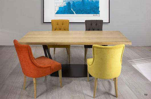 Table rectangulaire ndre  en Chêne et Métal 200x90
