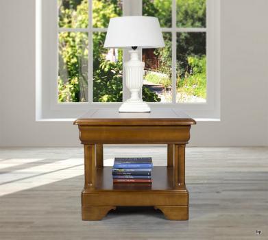 Petite table basse Ines en Merisier de style Louis Philippe 1 tiroir