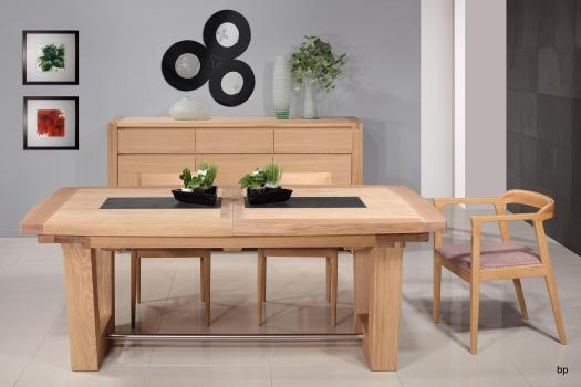 Table rectangulaire  220x110  en Chêne Massif 4 allonges de 40 Finition Chêne Brossé naturel
