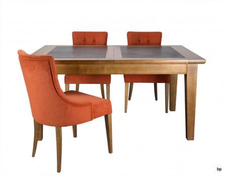 Table de repas Jeanne  en Merisier Massif Pieds Fuseaux Plateau céramique Largeur 140 cm