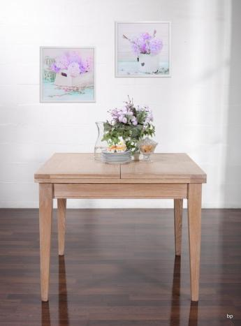 Table de repas 100x100 réalisée en Chêne massif de style Contemporain, plateau ouvert 200x100