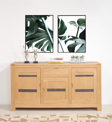 Buffet Adriana 3 portes 1 tiroir en chêne de ligne contemporaine Céramique Iron Grey