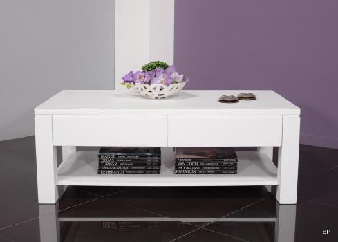 Table basse rectangulaire magaly réalisée en merisier ligne contemporaine longueur 120