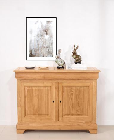 Buffet 2 portes Ethan  en chêne massif de style Louis Philippe Finition traditionnelle Chêne Naturel SEULEMENT 1 DISPONIBLE