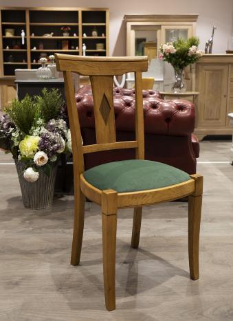 Chaise Arthur  en Chêne Massif de style Louis Philippe Assise encastrée Tissu d'ameublement au choix