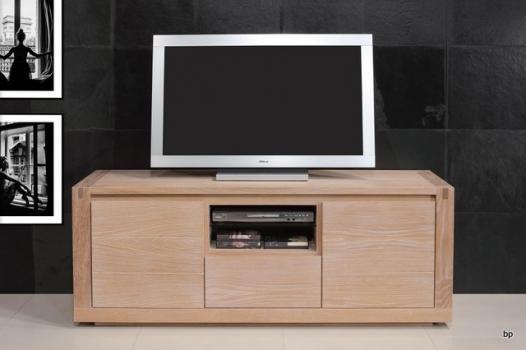 Meuble TV Mathis  en Chêne de ligne contemporaine 160 de large