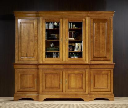 Bibliothèque 2 corps 4 portes Anne Laure  en Merisier Massif de style Louis Philippe  Portes bois de chaque côté